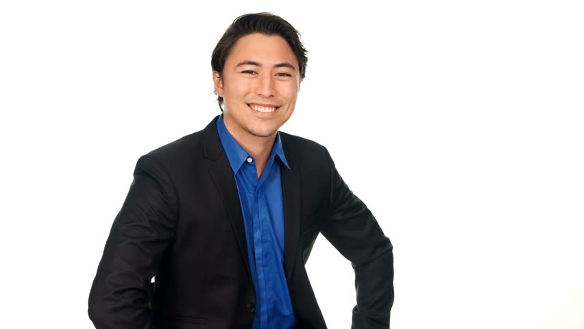 Handsome Relaxed Businessman In A Blue Shirt And Black Suit ...