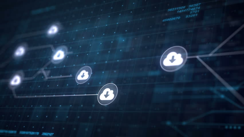 Cloud Download Icon Line Connection of Circuit Board Loop Animation 4K | Shutterstock HD Video #22130602