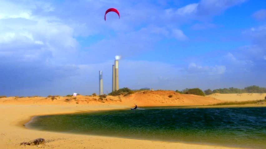 Kite Surfing in a lake, south of Israel, filmed 50p, color graded