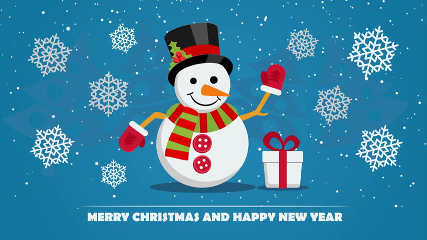 Snowman near gift box with ribbon and text below on Christmas Eve. Xmas and New Year greeting card template with falling snowflakes.   Shutterstock HD Video #22132267