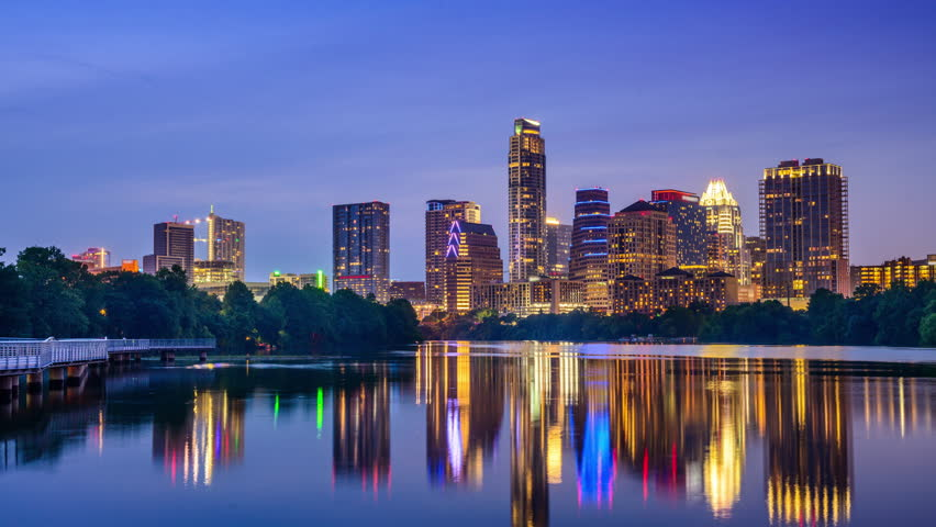 austin texas usa downtown skyline time lapse on the colorado river stock footage video. Black Bedroom Furniture Sets. Home Design Ideas