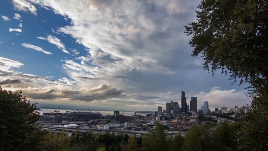 A wide angle complete day to night sunset transition over the city of Seattle as seen from the south. | Shutterstock HD Video #22151341
