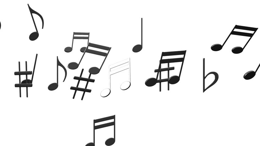 Black Musical Notes On White Background. Loop Able 3DCG Render Animation.  Stock Footage Video 22154512 | Shutterstock
