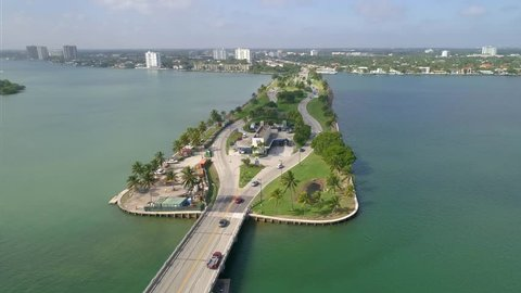 MIAMI BEACH - DECEMBER 6: Aerial video of the Broad Causeway Miami which is a main toll road from Miami to the beaches shot at 4k 60p December 6, 2016 in Miami Beach FL, USA