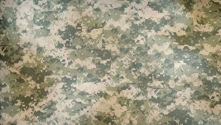 Camouflage seamless animated pattern, military background. Waving camo green fabric texture background. Full HD video 1080p.