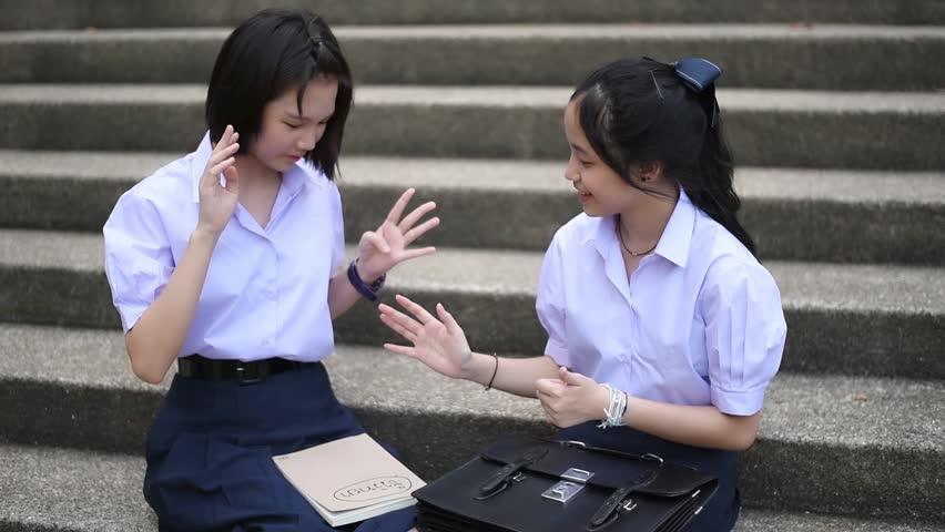 Cute Cheerful Asian Thai High Schoolgirls Student Couple -6665