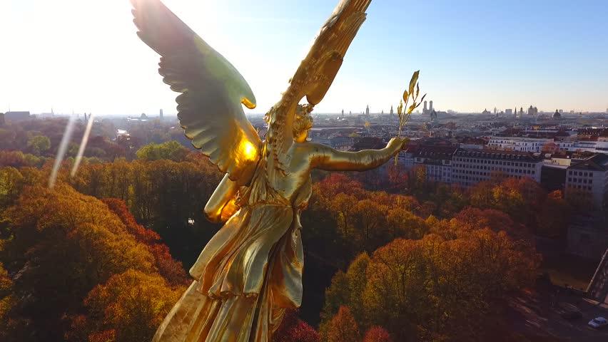 The Friedensengel is a sculpture on the Isarhochufer in Munich Bogenhausen at a height of about 34m.   Shutterstock HD Video #22188598