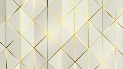 Geometric Triangle Wall Loop 1A: abstract background low poly waving triangles surface with shiny yellow gold edge accents, 4K FullHD, seamless loop.