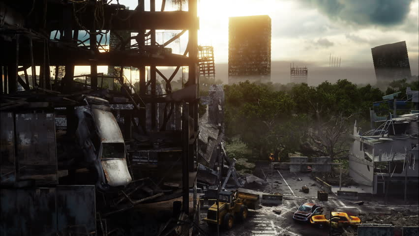 apocalyptic city with highway  3d rendering stock footage video 8489254