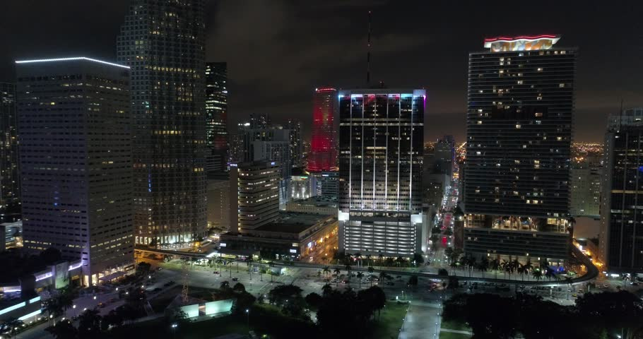 Aerial drone footage Downtown Miami - 4K stock video clip