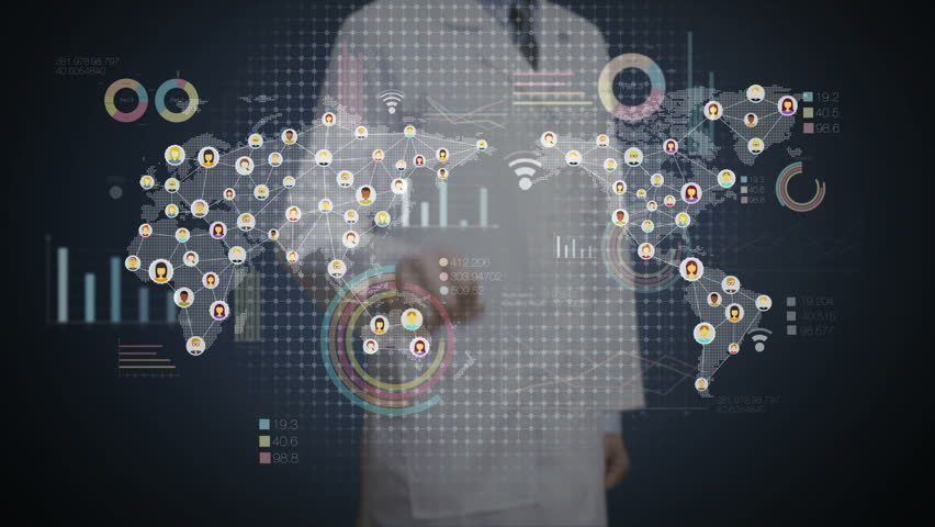 Doctor touching digital screen, connected people, using communication technology. with economic diagram,chart,graph. | Shutterstock HD Video #22262032