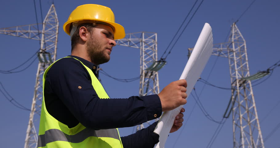 Electrical engineer with tablet pc episode 3 stock footage video experienced engineer man reading blueprint in industrial area wire lines network ultra high definition malvernweather Image collections