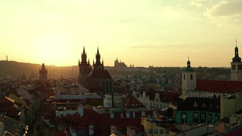 PRAGUE, CZECH REPUBLIC - CIRCA SEPTEMBER 2016: Timelapse view of Prague Old Town with amazing sunset sky in background