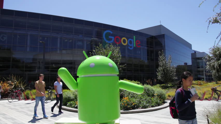 Mountain View, California, USA - August 15, 2016: Android robot statue at Google entrance of its colorful building complex. Google is leader of Internet search engine services.