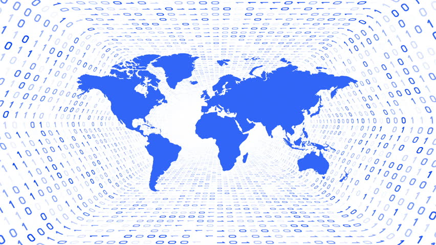 Blue World Map Silhouette Form Stock Footage Video 100 Royalty