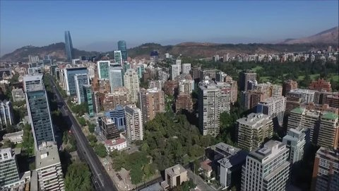 Aerial view of city in Santiago Chile