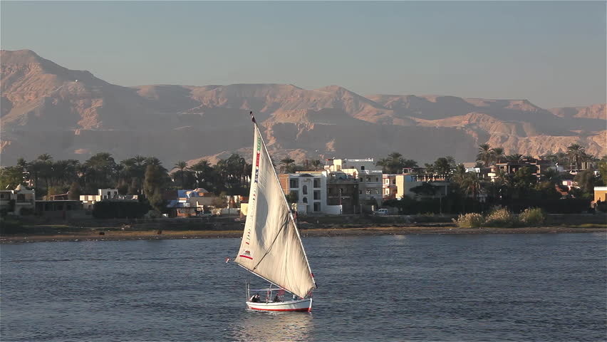 Felucca In Full Sail; River Nile Luxor Egypt