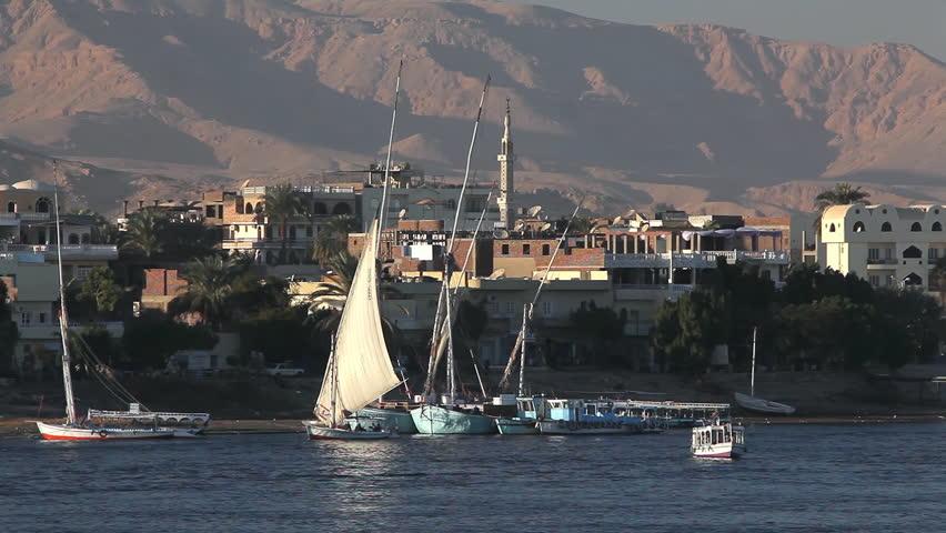 Felucca & Passenger Ferry; River Nile Luxor Egypt