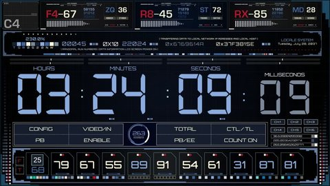 Timecode Interface Status Screen. HUD Interface Concept. Futuristic UI