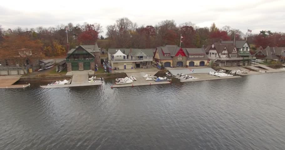 Aerial footage over Boathouse Row, Philadelphia