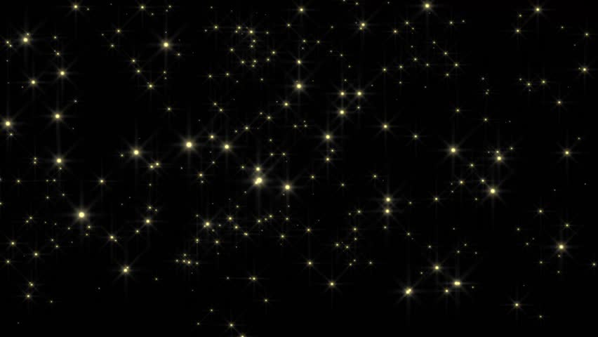 Golden glowing star particle in random direction with bounce on spotlight ground abstract background animation motion graphic 3D render with copy space on black background   | Shutterstock HD Video #22444183
