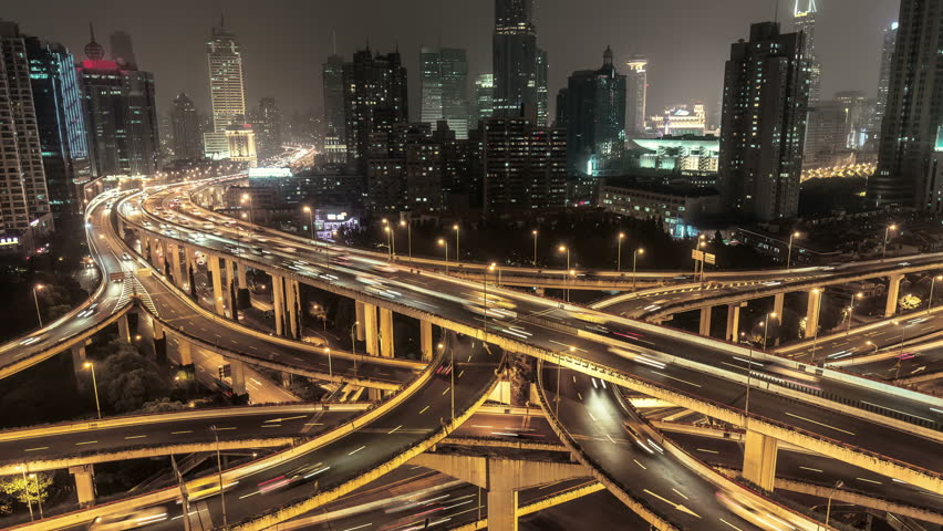 Complex highways in Shanghai, China, at night. Scenic aerial view of big illuminated interchange with fast moving cars. 4K Time lapse.  | Shutterstock HD Video #22446295