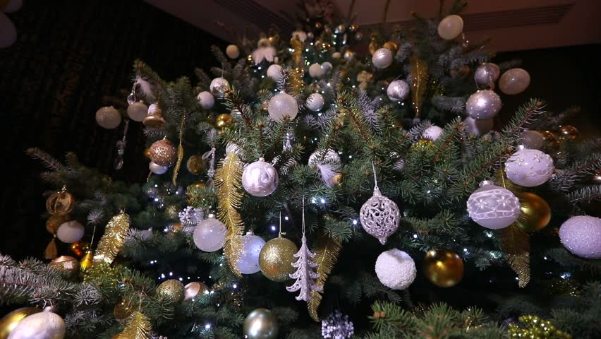 christmas ball christmas lights hanging in a tree new year silver bauble hanging - Silver Christmas Lights