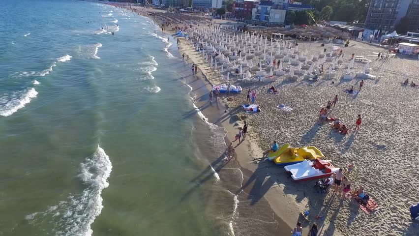 Flying Low over the beaches of sunny beach bulgaria