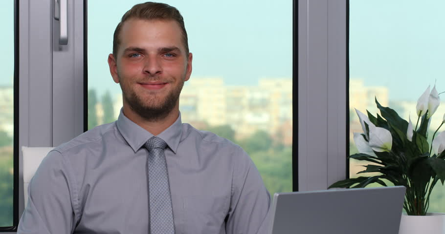 Happy Ceo Businessman Looking Camera And Negative Solution In Office ...