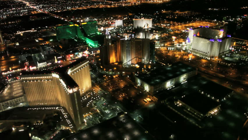 Aerial view of the Las Vegas strip at night circa 2009 | Shutterstock HD Video #2252872