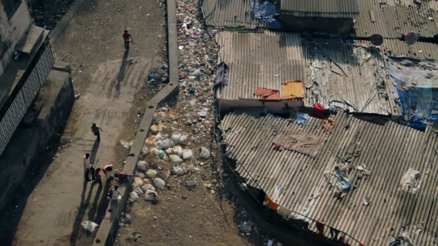 Looking down over a poor area in Mumbai, India.