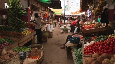 SEP 2016 LAMU KENYA. African shop at local vegetable market.