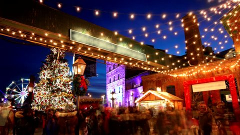 Christmas market at the historic Distillery District in Toronto, Canada