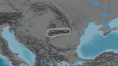 Zoom into Transylvanian Alps mountain range - glowed. Elevation map. High resolution ASTER GDEM data textured