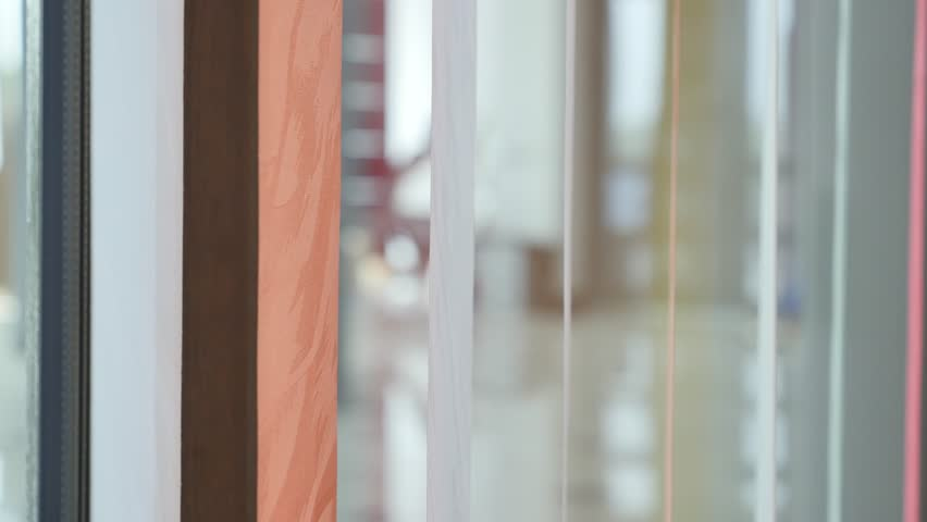 Vertical Color Window Blinds In Motion.   4K Stock Footage Clip