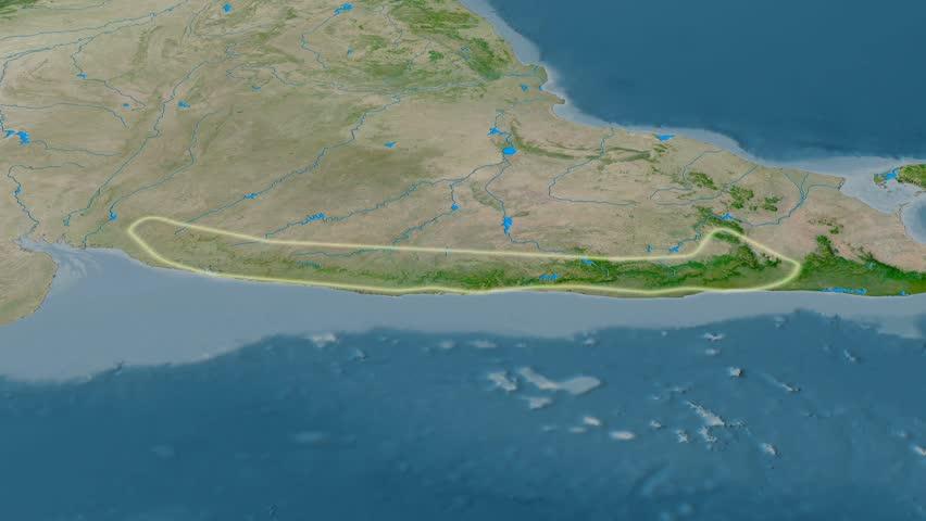 Revolution around Western Ghats mountain range - glowed. Satellite imagery. High resolution ASTER GDEM data textured