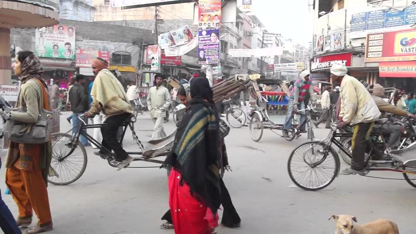 VARANASI, INDIA - DECEMBER 20: Traffic on the streets of Varanasi, on December 20, 2011 in Varanasi, Uttar pradesh, India