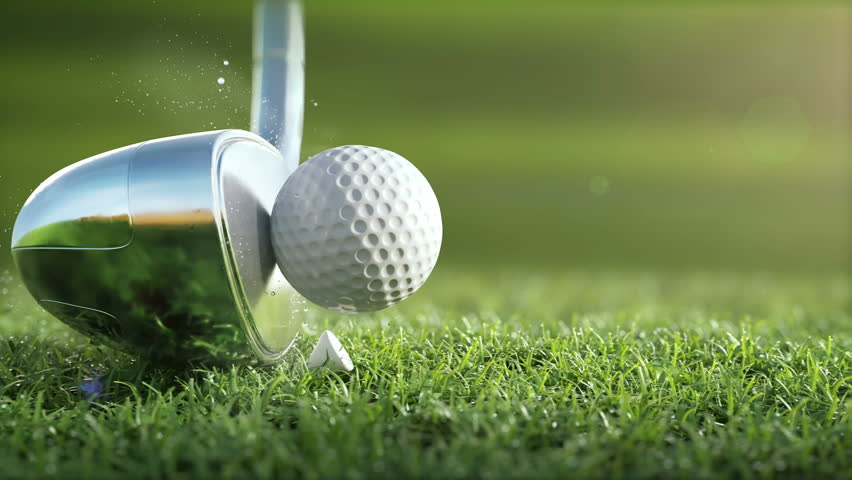 Golf club hits a golf ball in a super slow motion, in sunny morning. visible deformation of the ball, drops of dew and grass particles after impact raised in the air. Ultra-realistic 3D animation