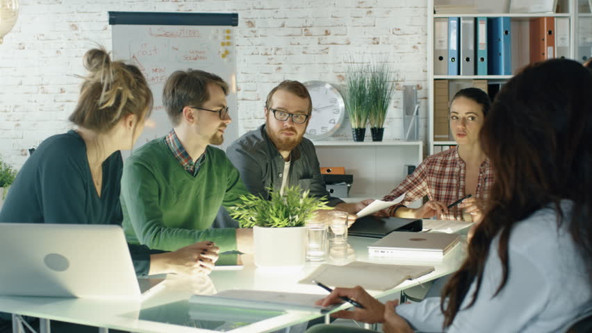Busy Creative Office Strategic Planning Session is on the Way. Diverse Crowd of Stylish Young People Have Energetic Discussion. Shot on RED EPIC (uhd). | Shutterstock HD Video #22607182