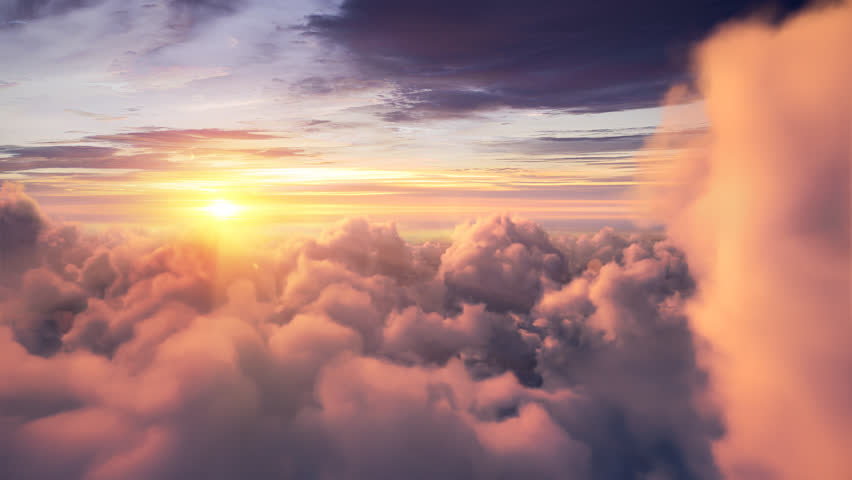Flying over the evening timelapse clouds with the late sun. Seamlessly looped animation. Flight through moving cloudscape with beautiful sun rays. Perfect for cinema, background, digital composition | Shutterstock HD Video #22607332