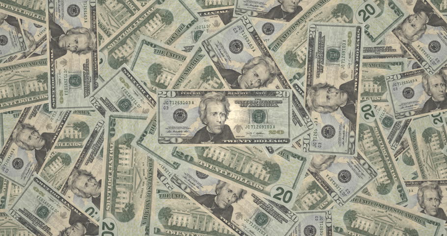 Animation with movement toward the center of mountain of bills of twenty dollars americans, cash money | Shutterstock HD Video #22609162
