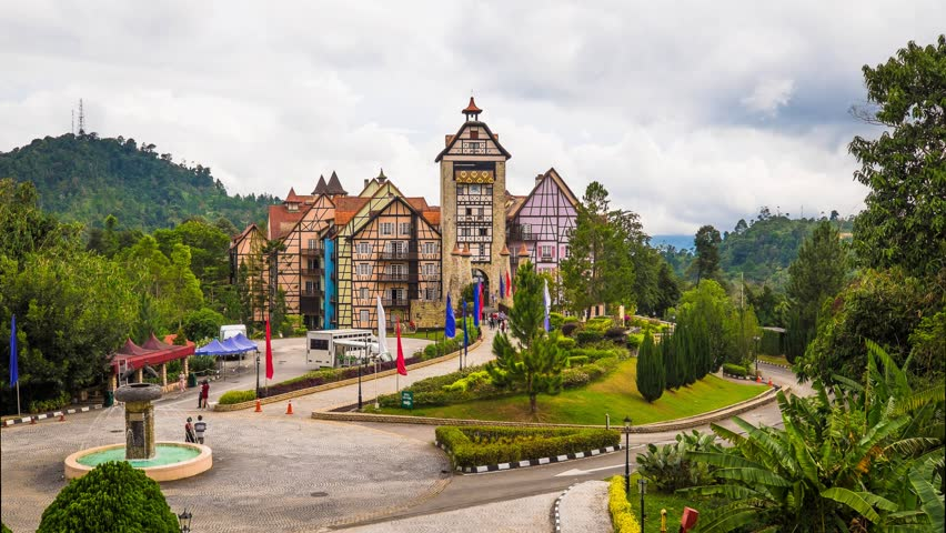 Pahang, Malaysia - 28 Dec 2016 : Time lapse at Entrance of Colmar Tropicale, Malaysia A french themed resort, which is a replica of a 16th Century French Village in Bukit Tinggi, Malaysia.  | Shutterstock HD Video #22621591