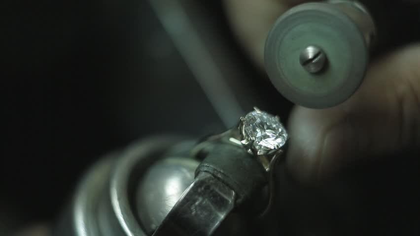 Diamond polishing machine processing a diamond