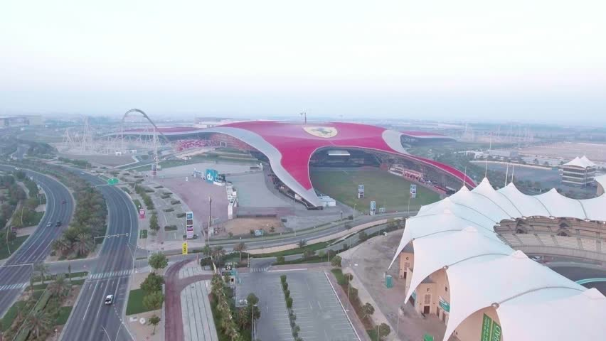 ABU DHABI, UAE - DECEMBER 2016: Ferrari World as seen from the air. It is an amusement park located on Yas Island.