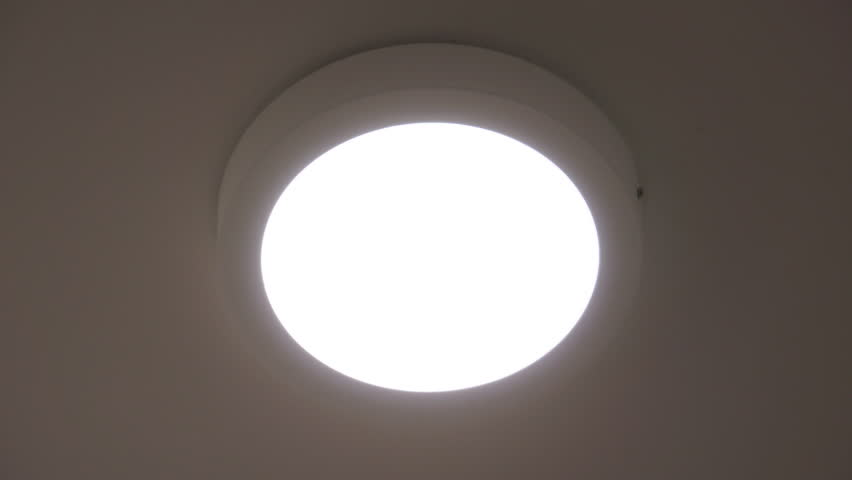 Close up on led ceiling light led lamp turned on and off indoor close up on round indoor led ceiling light turning on and off ceiling lamp aloadofball Gallery