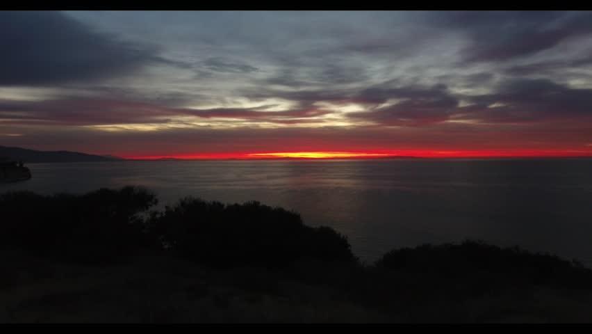 Pretty early morning sunrise at Malibu beach (4k)