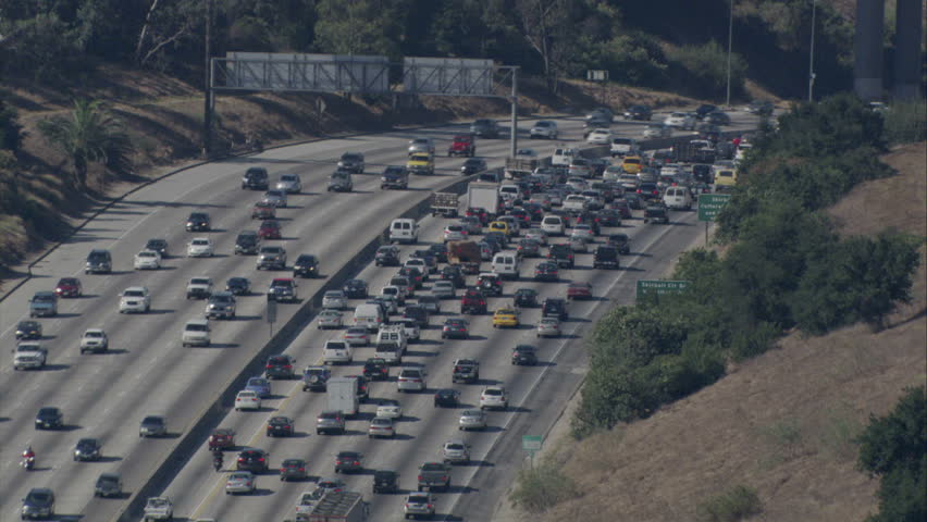 Sky view of traffic moving on a LA freeway