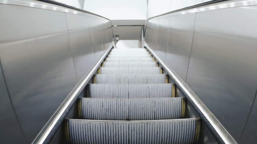 Escalator Moving Staircase Going Up POV   HD Stock Footage Clip