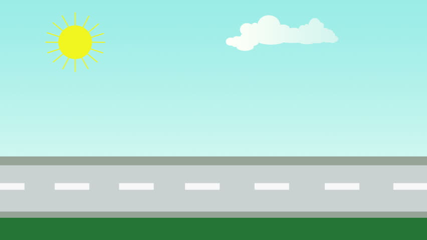 Cars On Line >> Animation Cartoon Is Rain, The Sky Cloud, Colored Houses On A Small Street Footage Town With ...