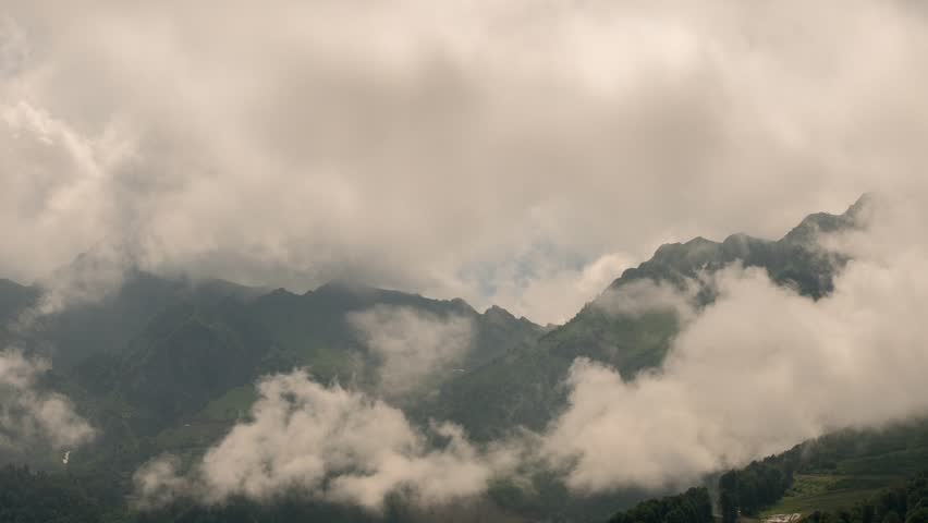 Mountainside in clouds time lapse Rosa Khutor, Sochi, Russia. | Shutterstock HD Video #22780522